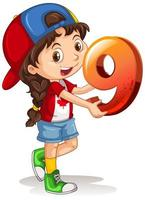 garota canadense usando boné segurando matemática número nove vetor