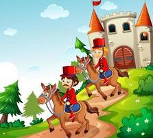 cena de conto de fadas com castelo e soldado da guarda real