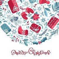 texto de mão letras caligráficas de feliz natal vetor