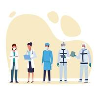 médicos usando máscaras médicas e roupas de proteção vetor