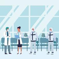 médicos usando máscaras médicas na sala de espera vetor