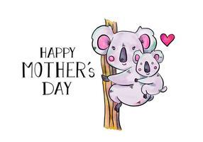 Mãe Koala bonito e filho na árvore com Lettering Para o Dia das Mães