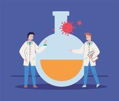 cientistas com vacina de pesquisa de partículas covid19 vetor