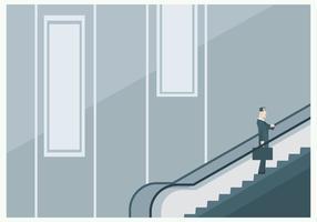 Um homem de negócios na escada rolante vetor