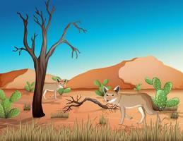 deserto com montanhas de areia e coiote vetor