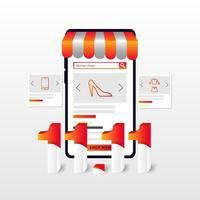 design de banner de venda de um dia com loja de celular vetor