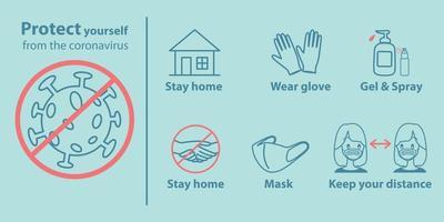 proteja-se do pôster do coronavírus vetor