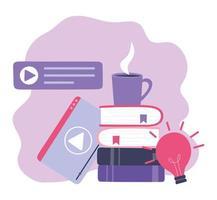 treinamento online, vide player e pilha de livros vetor