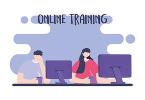 treinamento online, alunos usando computador com xícaras de café vetor