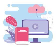 treinamento online, vídeo e livro sobre computação em nuvem vetor