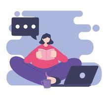 treinamento online, menina lendo livro com laptop e café vetor