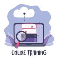 treinamento online, análise de livros de computação em nuvem vetor