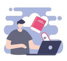 treinamento online, menino estudante com computador e livro vetor