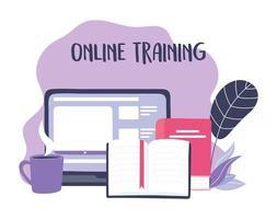 projeto de treinamento online com laptop, livros e xícara de café vetor