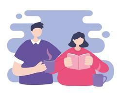 treinamento online, alunos com livro e xícara de café vetor