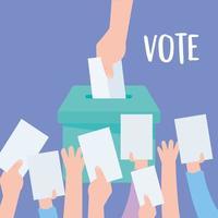 mãos colocando papéis votos na caixa vetor