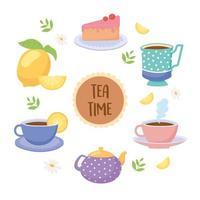 hora do chá xícaras e comida vetor