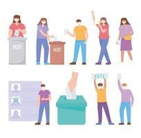 pessoas mascaradas votando e elementos eleitorais vetor