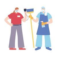 homem da limpeza e entregadora usando máscaras vetor