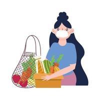 mulher com máscara e bolsa ecológica, caixa vetor
