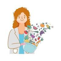 nutricionista com frutas e vegetais frescos vetor