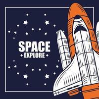 explore a composição retro do espaço com uma nave espacial vetor