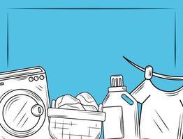 elementos de lavanderia e faixa de roupas vetor