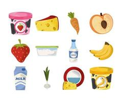 conjunto de comida de desenho animado vetor