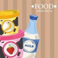 banner modelo de alimentos com produtos lácteos vetor