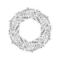 contorno de guirlanda de natal com elementos de doodle floral