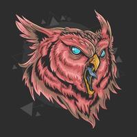 cabeça de coruja vermelha vetor
