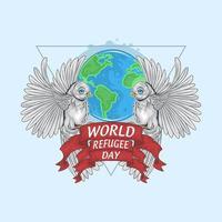 projeto do dia mundial do refugiado com pássaros e terra vetor