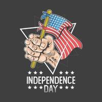 mão do dia da independência da América segura a bandeira dos EUA vetor
