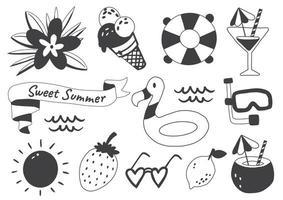 conjunto de etiquetas com tema de verão