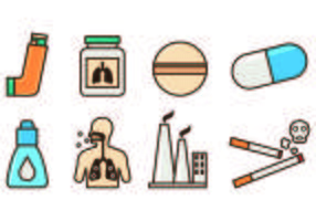 Jogo de ícones da Asma vetor