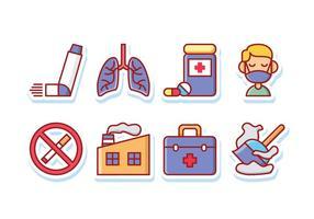 Os sintomas da asma adesivo Icon Pack vetor