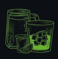coquetel drinks composição line-art vetor
