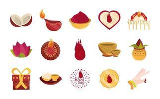conjunto de ícones de celebração bhai dooj vetor