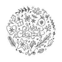 letras caligráficas de feliz natal com elementos de inverno vetor