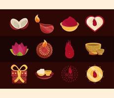 conjunto de ícones de celebração bhai dooj