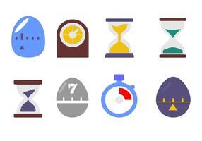 Tempo livre e ícones do relógio do vetor