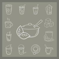 conjunto de diferentes tipos de chá