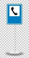 sinal de trânsito de telefone com suporte isolado vetor
