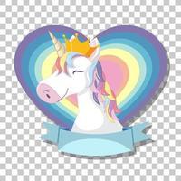 cabeça de unicórnio com crina de arco-íris no coração