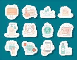 novo conjunto de ícones de adesivos de coronavírus normal