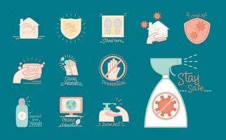 novo conjunto de ícones de coronavírus normal