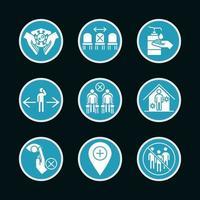 conjunto de ícones de pictograma de prevenção de coronavírus
