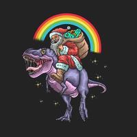 gráfico de papai noel montando dinossauro vetor