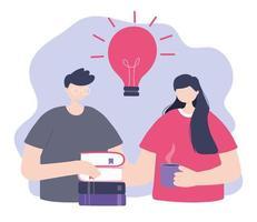 treinamento online, homem e mulher com livros e xícara de café vetor