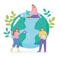 pessoas cuidando da terra reciclando, regando e plantando vetor